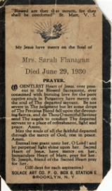 Sarah Kennedy Prayer Card