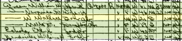 Wallace on the 1930 U.S. Census in Phoenix, Arizona.