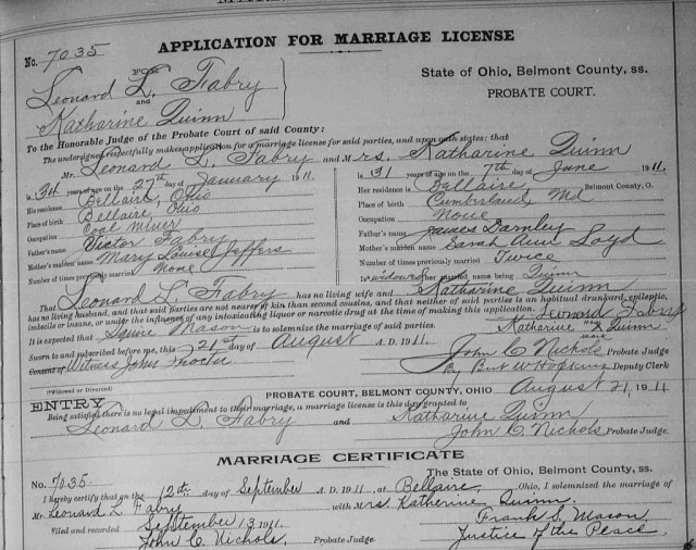 Marriage Record for Catherine Darnley and Leonard Fabry. Courtesy of the Family History Library microfilm.
