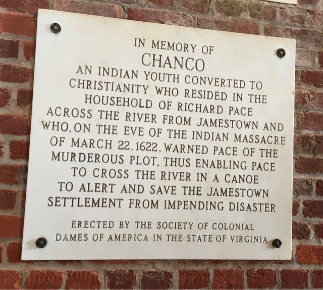 Plaque honoring Chanco and Richard Pace.