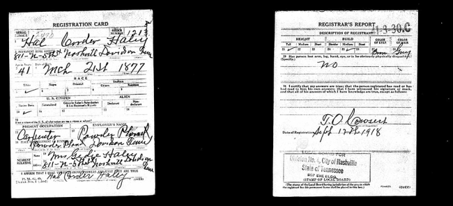 Haley Hallie Corder, WWI Draft Card