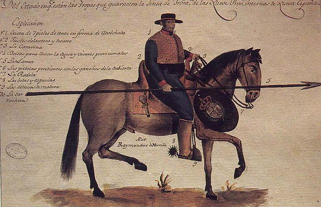 Drawing of a soldado de cuero. Cavalry Uniform Design Drawn by Ramón Murillo, August 26, 1804.  Public domain image via Wikimedia. Drawing details via the New Mexico History Museum.