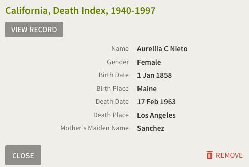 Aurelia Compean, California Death Index