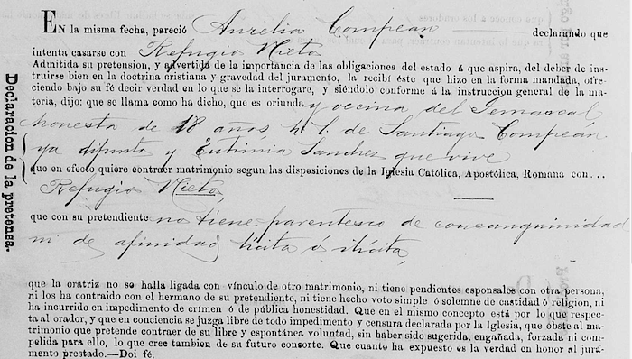 Marriage declaration by Aurelia Compean to Refugio Nieto, FamilySearch