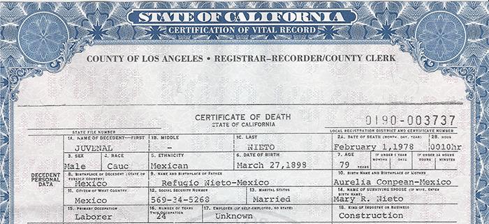 Juvenal Nieto Death Certiificate