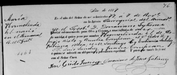 Maria Hermalinda Nieto Baptism Record