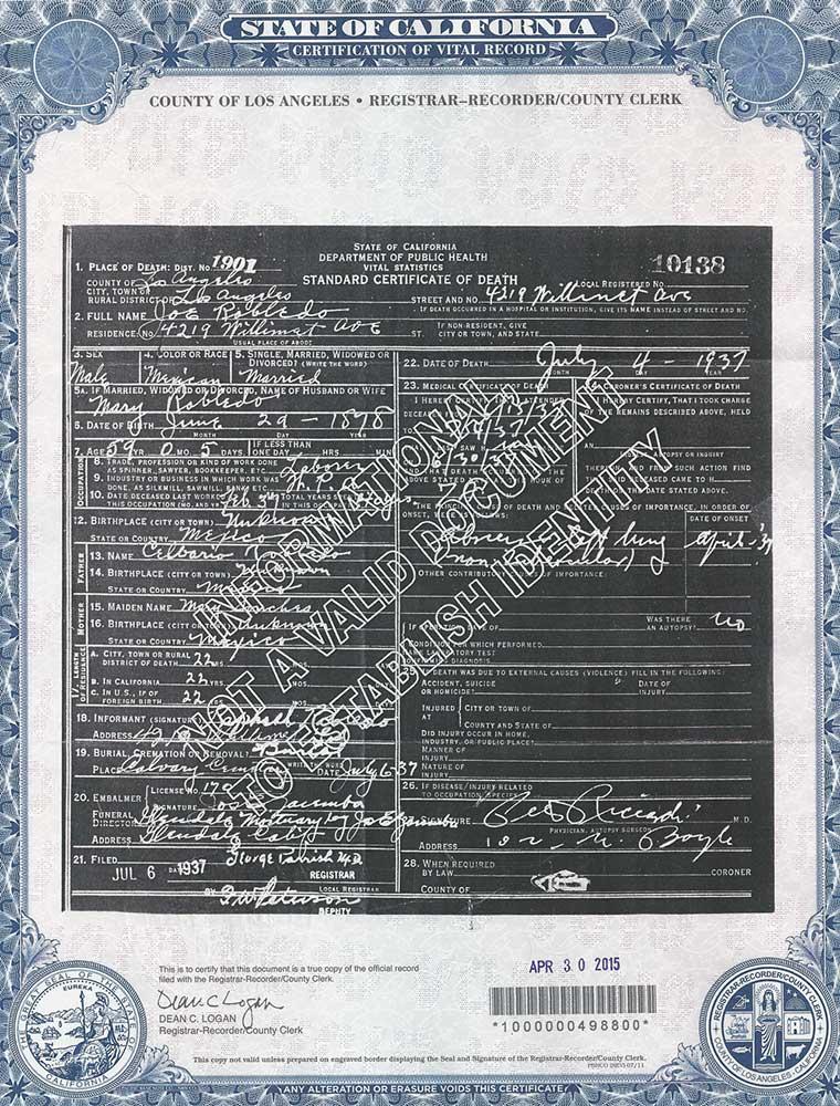 Jose Robledo, 1937 Death Certificate
