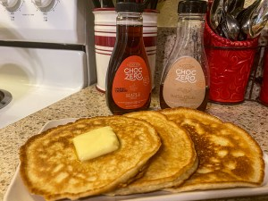Keto Low Carb Pancakes paired with ChocZero Maple Syrup
