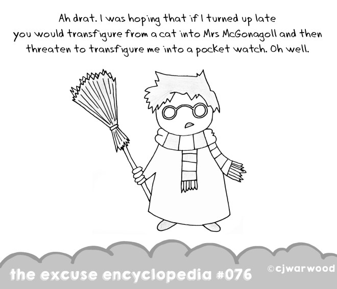 Harry Potter Late for Class Potter Weekly Excuse Cartoon