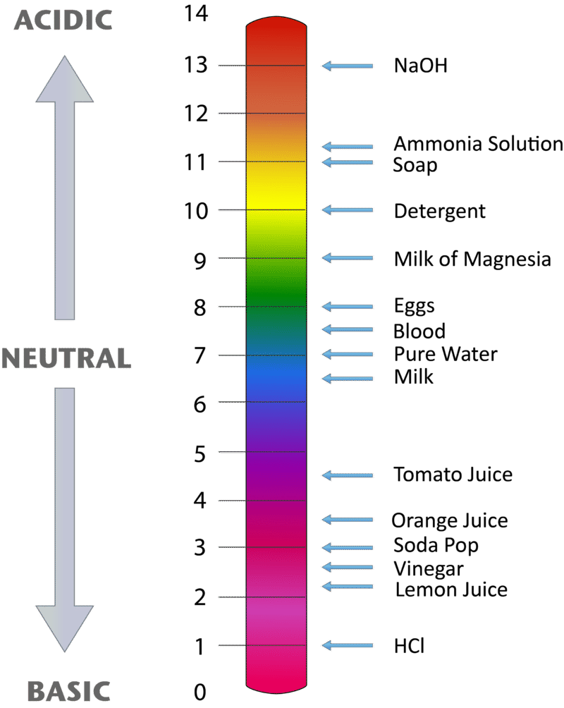 hight resolution of a ph scale goes from 1 to 14 numbers are shown with the ph of some common substances a value of 7 is neutral the strongest acids are at the low end