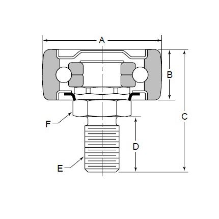 CF108S4F6 Cam follower bearing for replace Timken