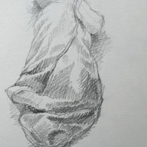 In de slaapzak, potlood in schetsboek, 2012