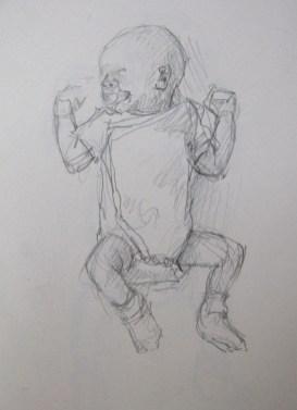 Twee weken oud, potlood in schetsboek, 2013
