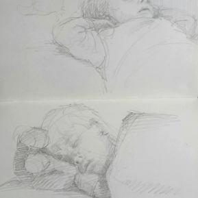 Slapend, potlood in schetsboek, 2016