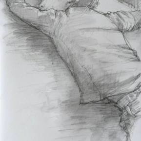 Slapende ziekentrooster, aquarelpotlood en waterbrush in schetsboek, 2016