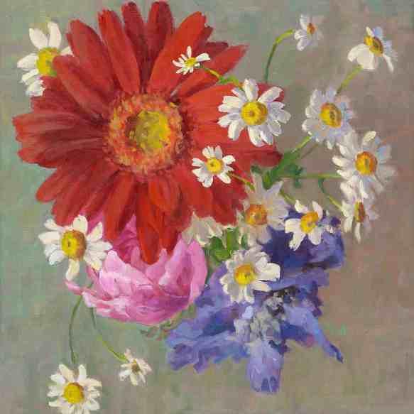 Huwelijksbloemen III, olieverf op linnen, 50x50 cm, 2017 [in opdracht]