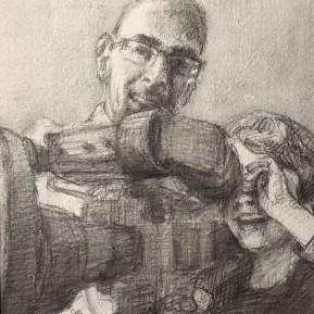 J&J (II), aquarelpotlood op papier, 15x15 cm, 2017 [in opdracht]