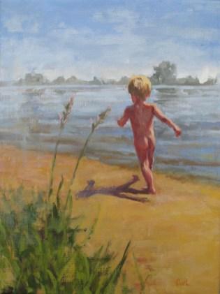 Aan de Rijn, olieverf op linnen, 40x30 cm, 2017 [in opdracht]
