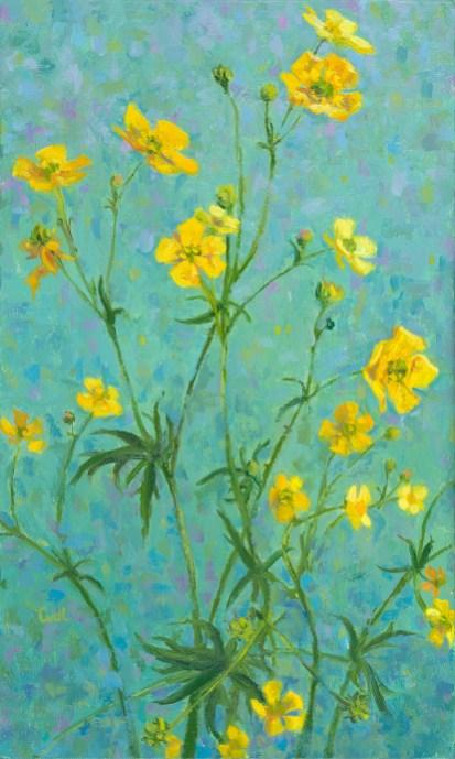 Boterbloemen, olieverf op paneel, 20x14 cm, 2018 [verkocht]