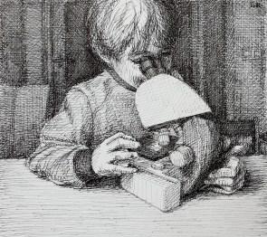 Handen (microscoop), fineliner op papier, 15x17 cm, 2019