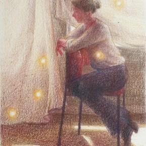Vijf lichtjes, kleurpotlood op papier, 12x10 cm, 2020
