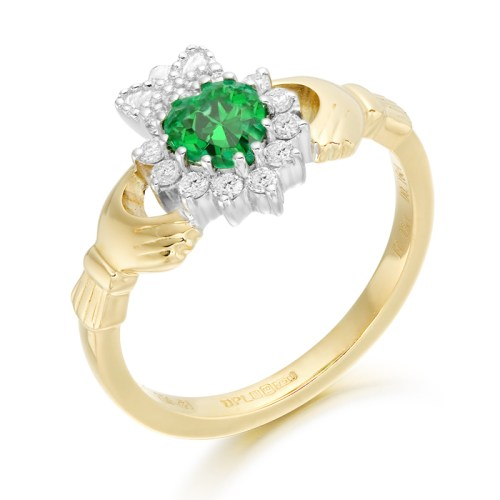 Emerald and Diamond Claddagh Ring - CLDIA6CL