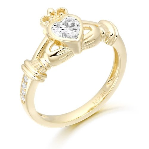 Ladies Claddagh Ring with Micro Pave Stone setting