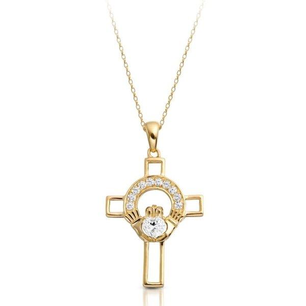 9ct Gold Claddagh Cross-C125CL