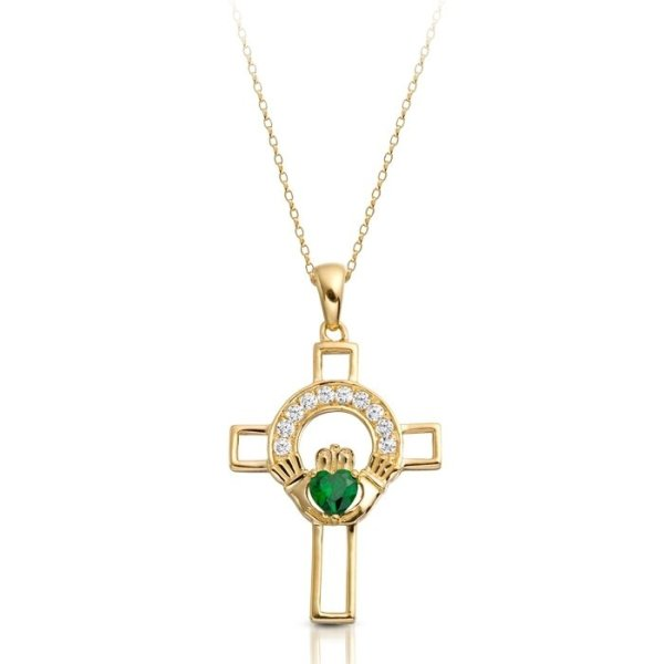9ct Gold Claddagh Cross-C125GCL