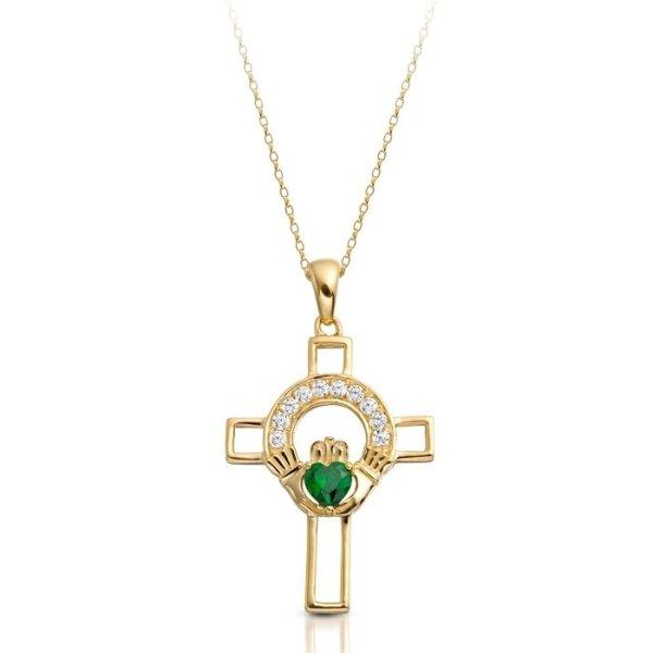 9ct Gold Claddagh Cross-C125GCL