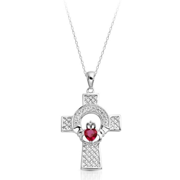 White Gold Claddagh Cross-C126WRCL