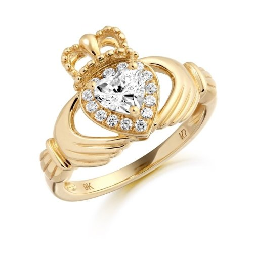9K Gold CZ Claddagh Ring studded with Micro Pave stone setting - CL28CL