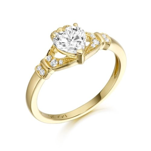 9K Gold CZ Claddagh Ring studded with Micro Pave stone setting - CL37CL