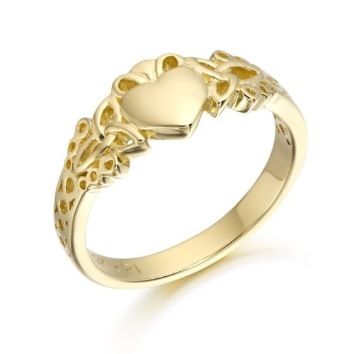 9ct Gold Ladies Claddagh Ring combined with Celtic design - CL40CL