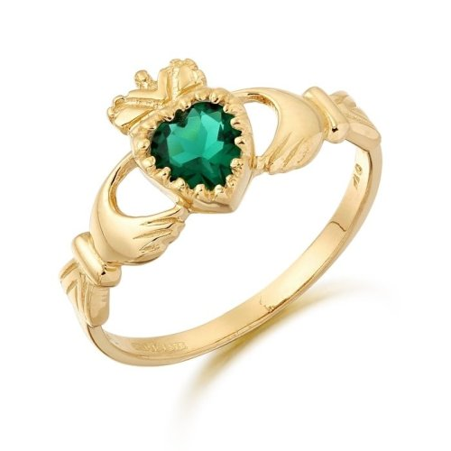 Emerald Claddagh Ring made in Ireland.