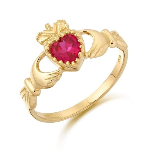 9ct Gold Ruby Claddagh Ring.