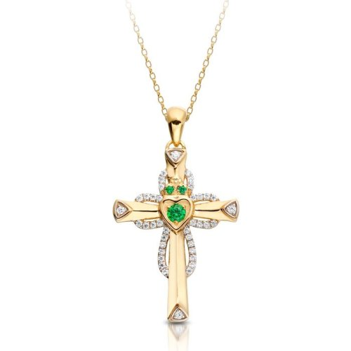 Yellow Yellow Gold Claddagh Cross Pendant