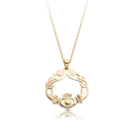 9ct Gold Claddagh Pendant with Celtic Knot Design - P051S