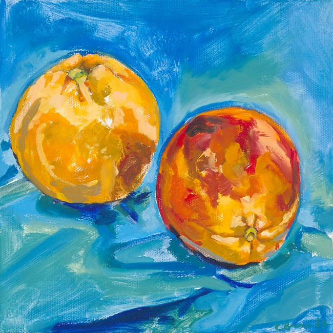 Oil painting of blood oranges by Claire Brandt