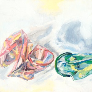small oil painting of pink and green condoms next to each other