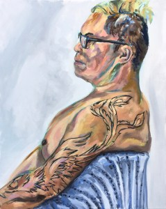 oil painting of man in profile, wearing glasses, showing phoenix tattoo and sitting in chair with blue blanket over it.