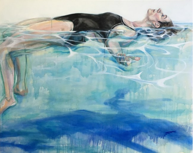 painting of woman floating on water