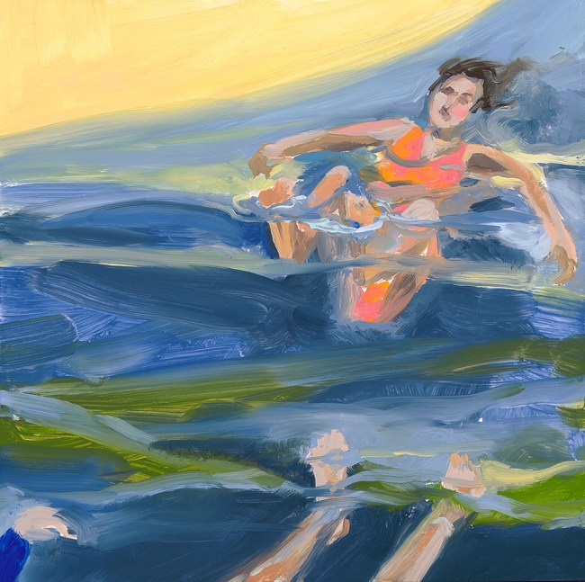 Painting of swimming in the ocean