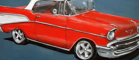 1957 Chevy painting by artist Claire Dunaway