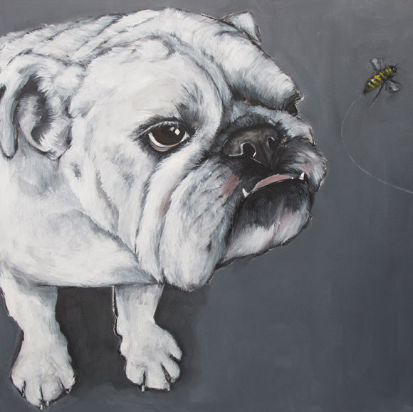 Bulldog with bee painting - Claire Dunaway