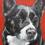 Pet portrait painting by artist Claire Dunaway
