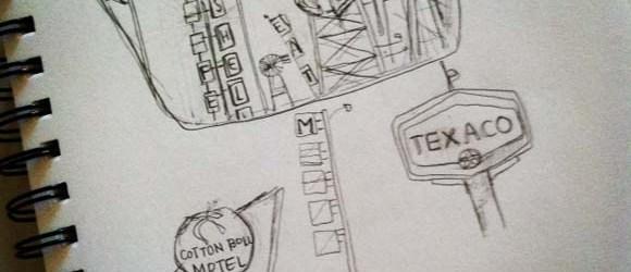 Marietta Brickyard Car Hood Sketch | Claire Dunaway Studios