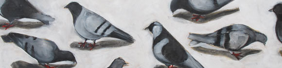 Santa Fe pigeons painting - Claire Dunaway