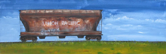 Union Pacific Train Car Grafitti | Claire Dunaway Studios