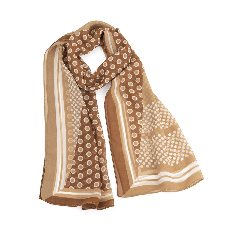 Brown and white polka dot design scarf